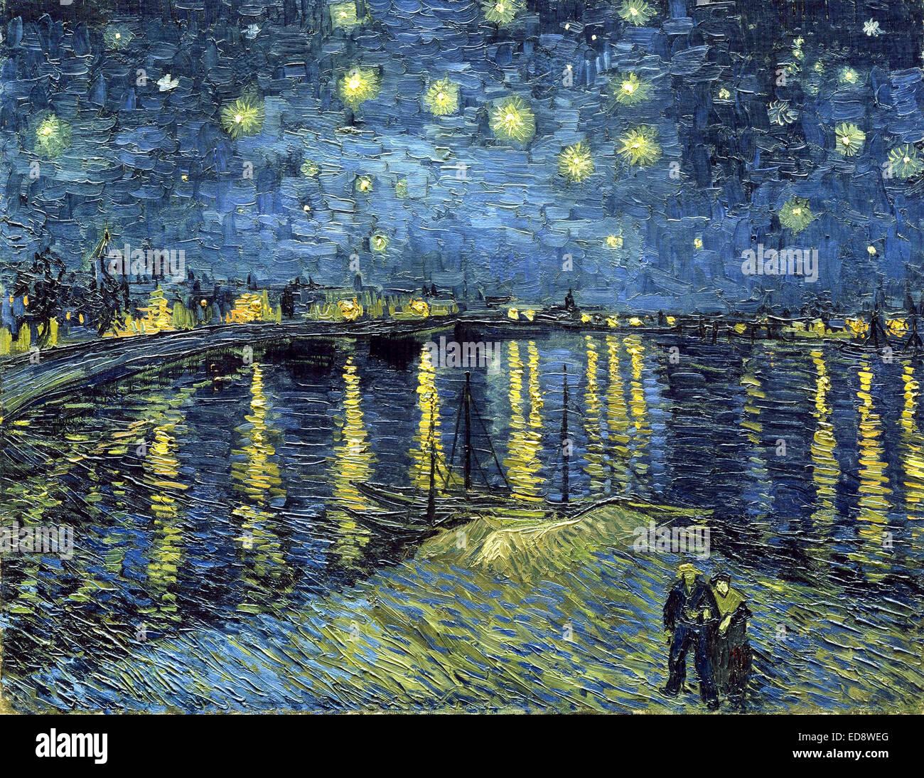 Vincent van gogh nuit toil e sur le rh ne nuit toil e for Starry night over the rhone hd