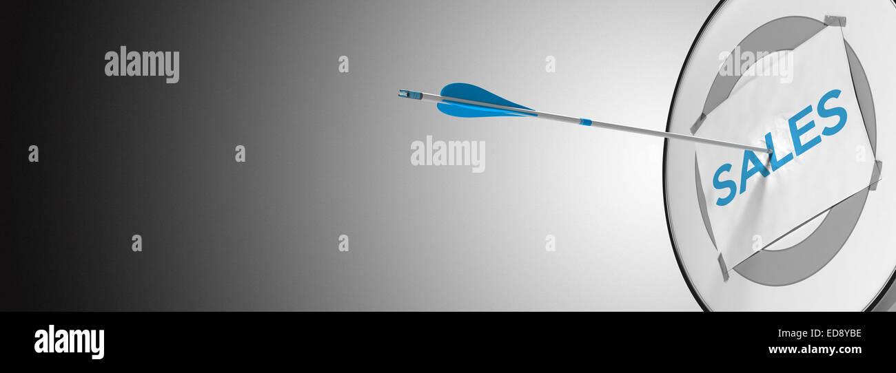 Une flèche frappant le centre d'un dart moderne, concept cible pour illustrer la prospection ou d'une Photo Stock
