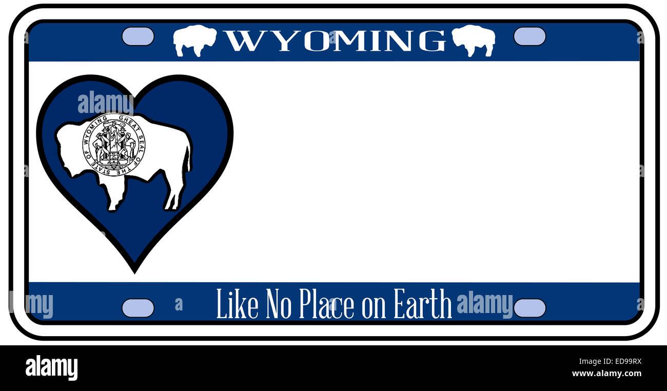 Wyoming state license plate dans les couleurs du drapeau