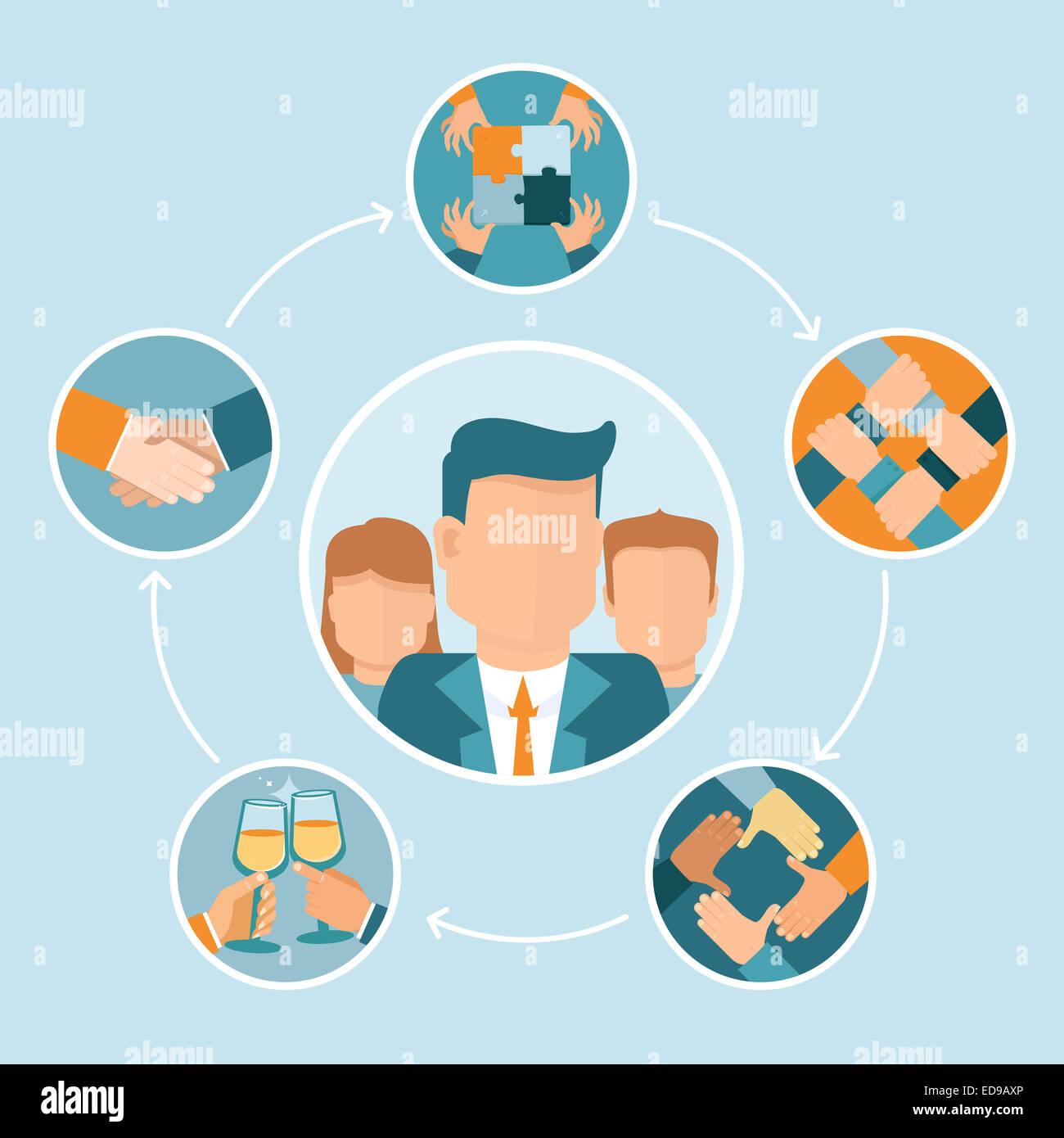 Concept d'équipe et coopération en télévision style - partenariat et collaboration - mains Photo Stock