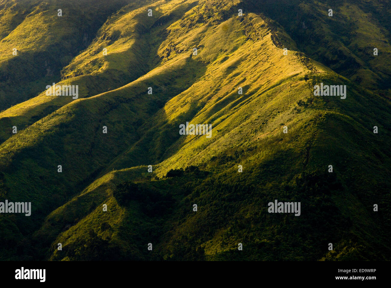 Crêtes de montagne volcan Sundoro, Central Java, Indonésie. Photo Stock