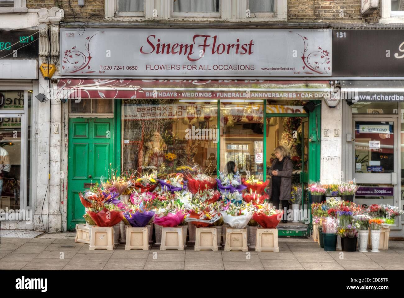 Magasin de fleur, fleuristes turc Londres Hackney Photo Stock