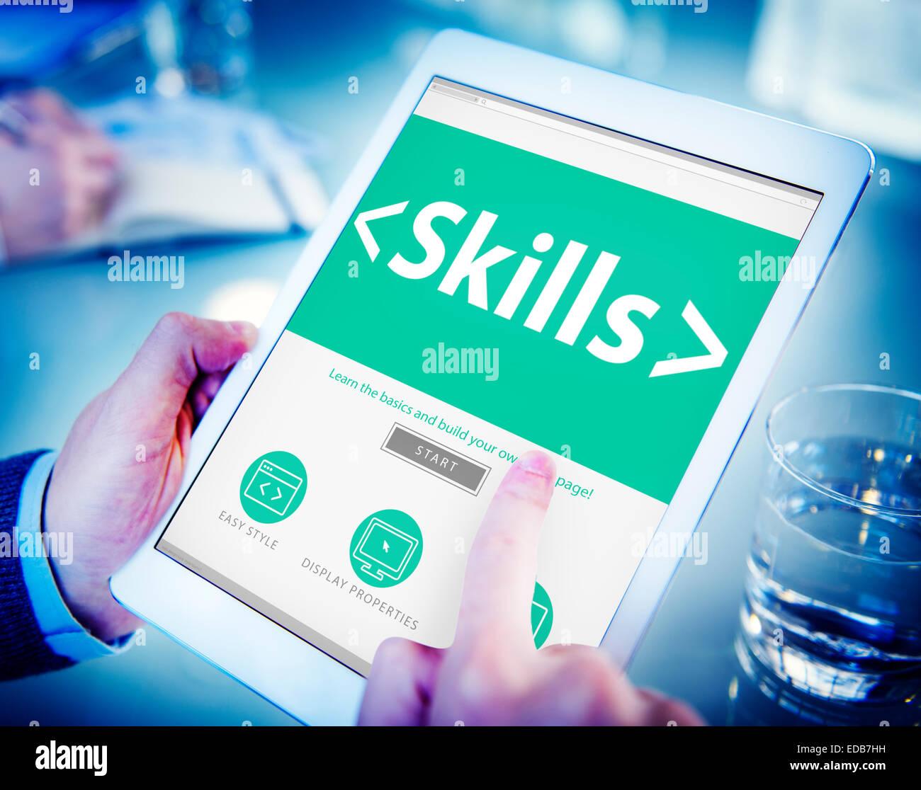 Capacité de l'efficacité personnelle des compétences Aptitude Concepts Photo Stock