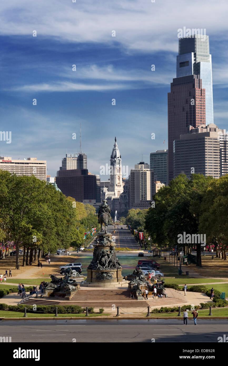 Ben Franklin Parkway, cercle d'Eakins, Philadelphie, Pennsylvanie Photo Stock