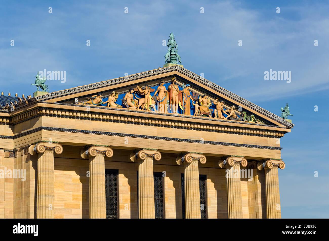 Philadelphia Museum of Art, détail architectural sur l'extérieur du bâtiment, Philadelphie, Pennsylvanie Photo Stock