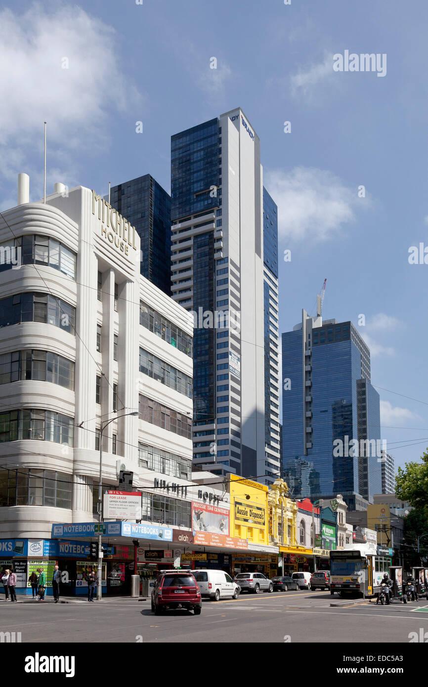 Le contraste dans l'architecture à Melbourne, Australie Banque D'Images