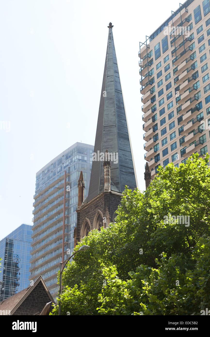 Le contraste de l'architecture ancienne et nouvelle, à Melbourne, Australie Photo Stock
