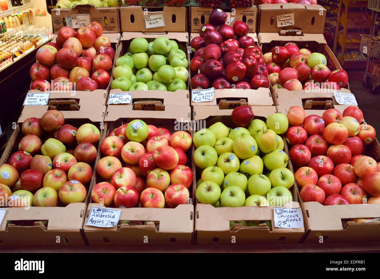 Variétés de pommes biologiques non marqués brillant sur l'affichage pour la vente au marché Photo Stock