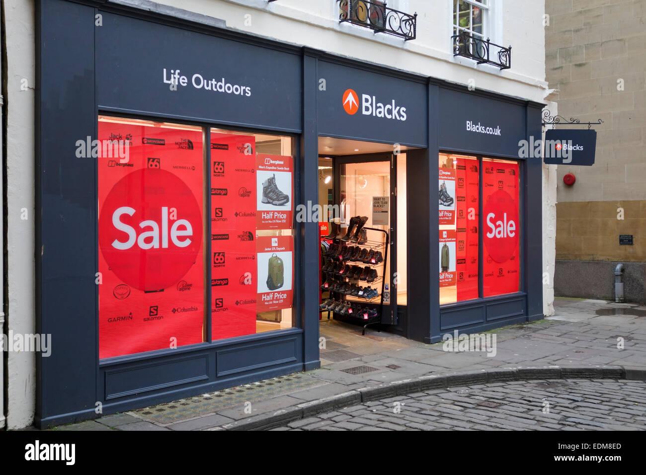 Blacks Outdoor Retailer, Bath, Angleterre Photo Stock
