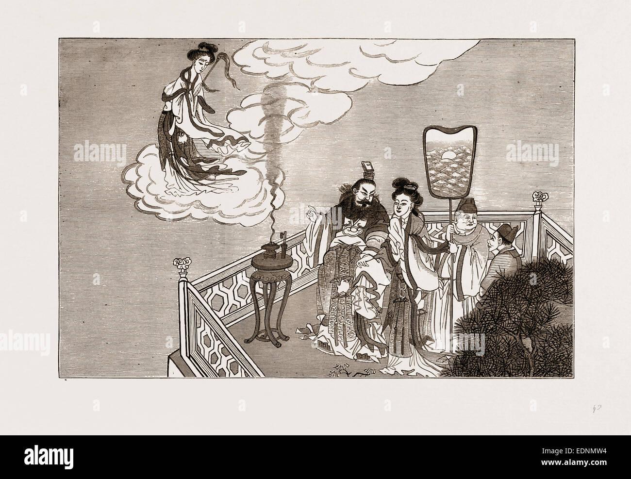 Un incident dans la mythologie chinoise: L'EMPEREUR ET LA DÉESSE CHWANG MIAO KWAN-YIN Photo Stock