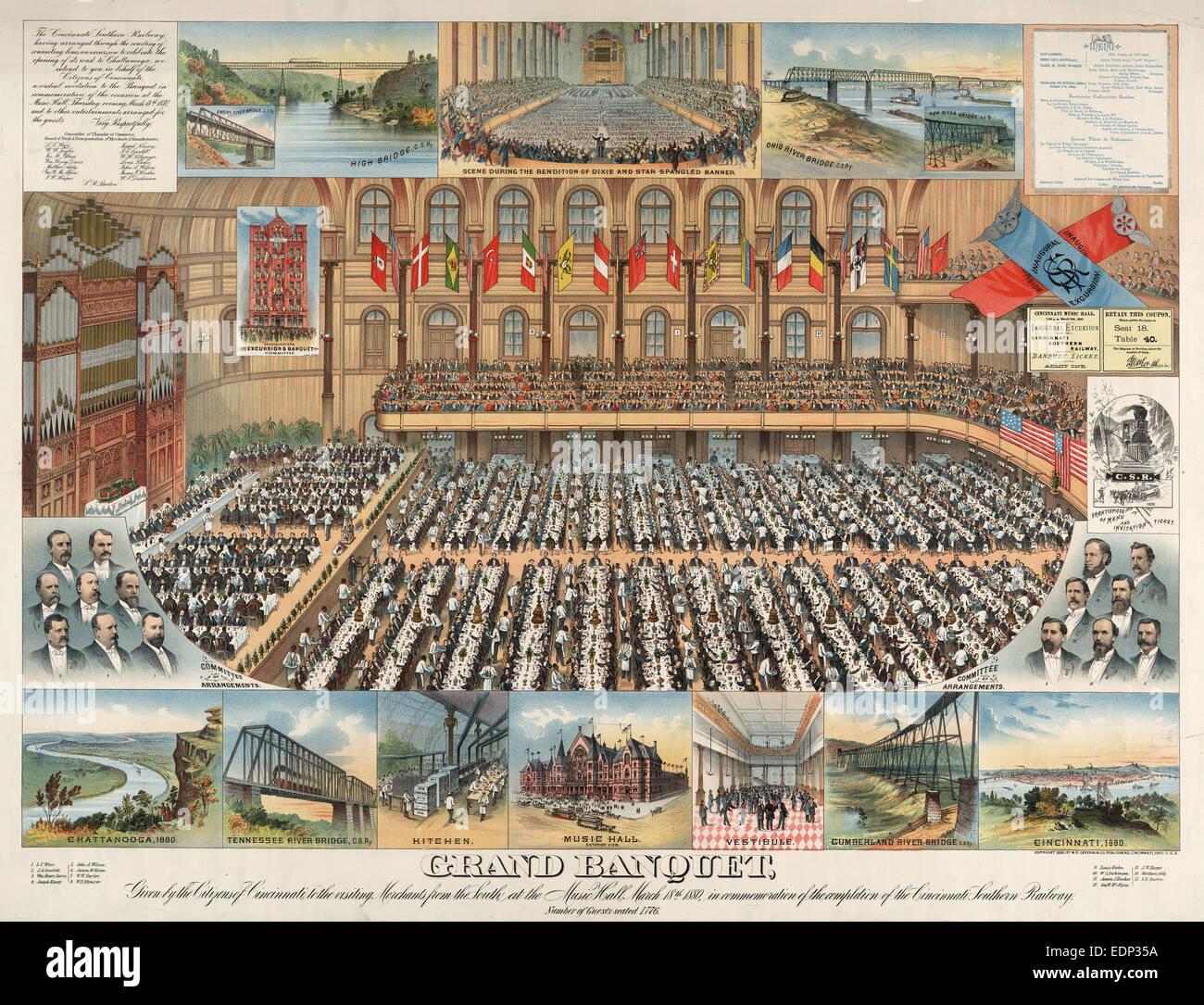 Grand banquet, donné par les citoyens de Cincinnati, à la visite de commerçants du sud, au Music Photo Stock