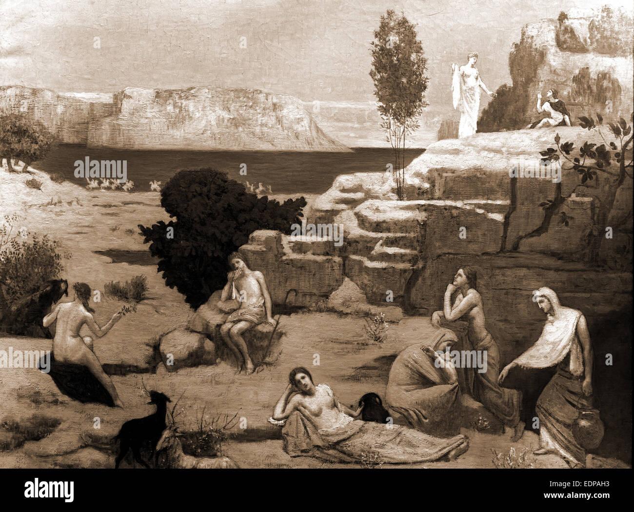 Une vision de l'antiquité, Puvis de Chavannes, Pierre, 1824-1898, mythes, 1900 Photo Stock
