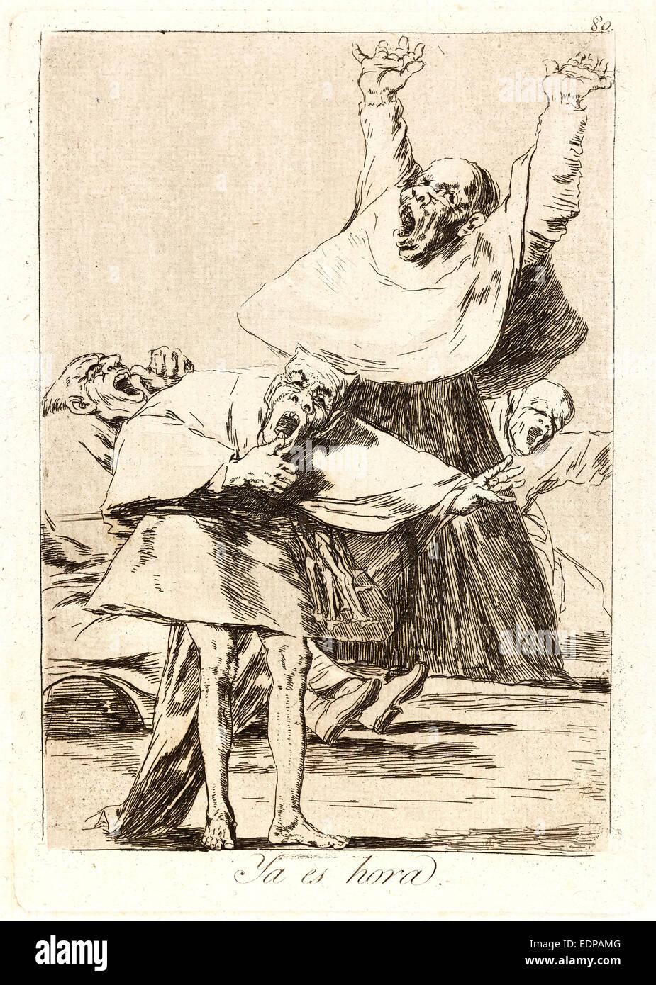 Francisco de Goya (Espagnol, 1746-1828). Ya es hora. (Il est temps), 1796-1797. De Los Caprichos, no. 80. Eau-forte Photo Stock
