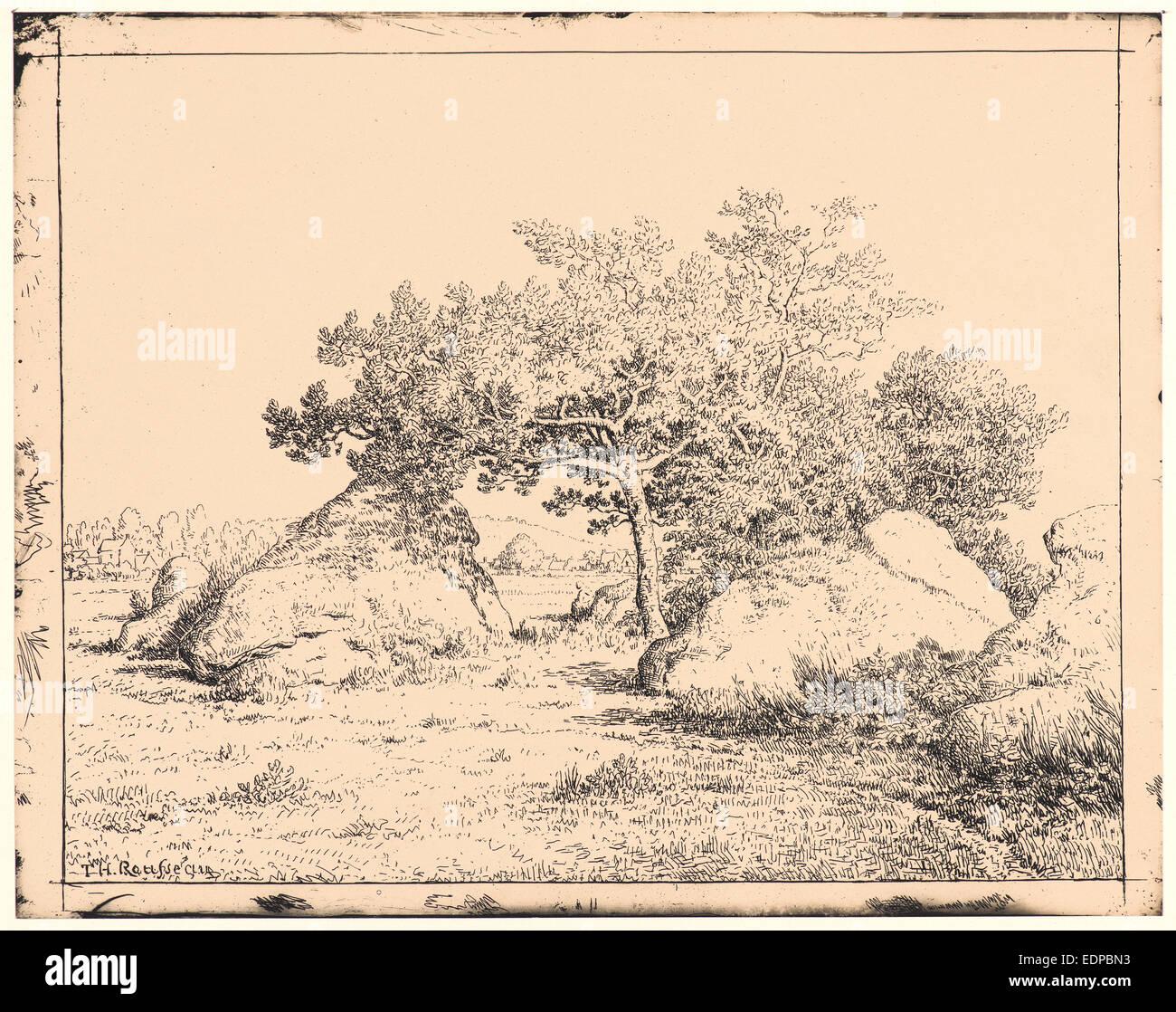 Théodore Rousseau (Français, 1812 - 1867). Le cerisier de la plante un Biau, 19e siècle. De Quarante Photo Stock