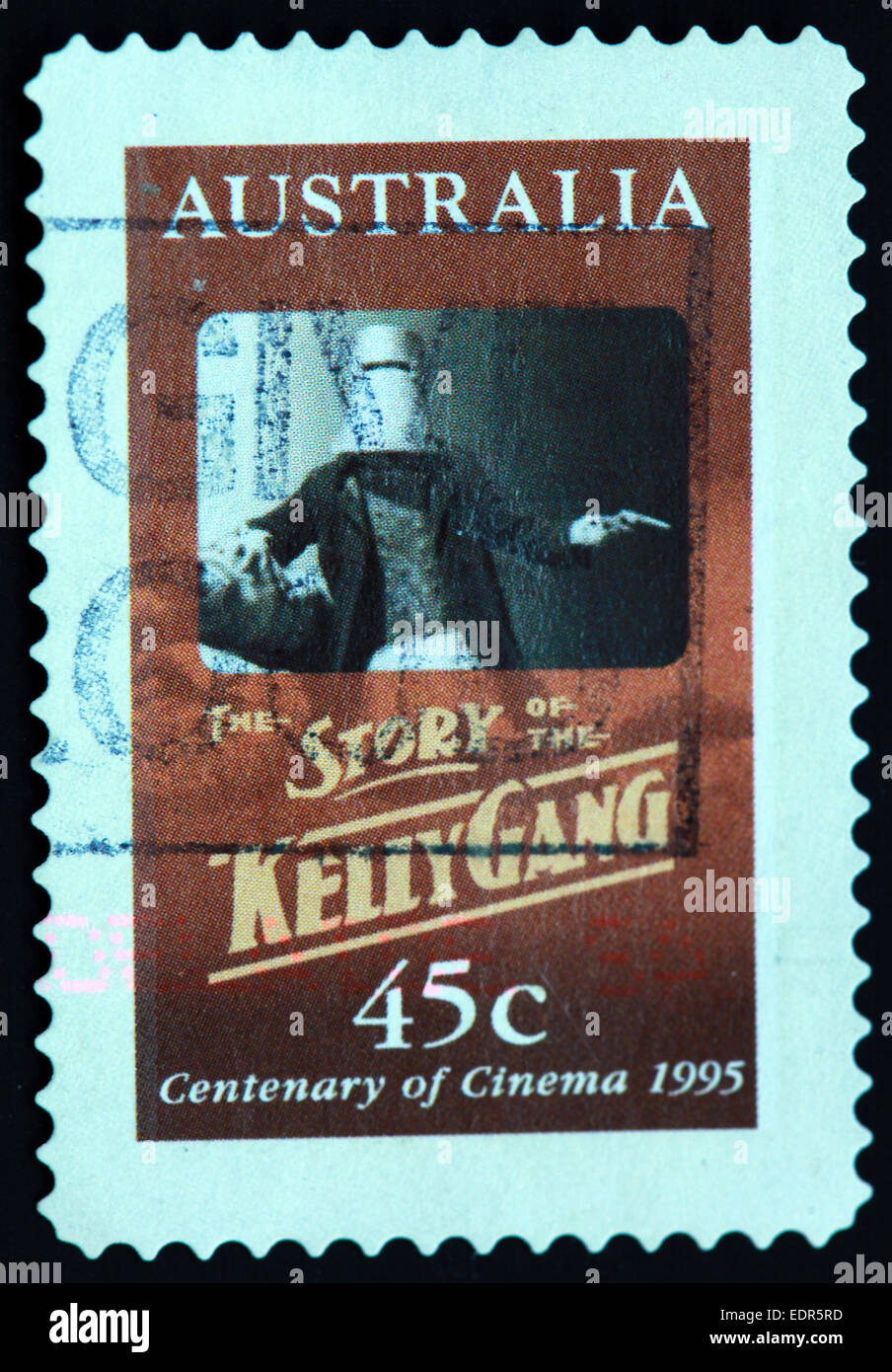Utilisé et oblitérée Australie / Austrailian Stamp 45 c histoire de la gang Kelly 1995 centenaire du cinéma Banque D'Images