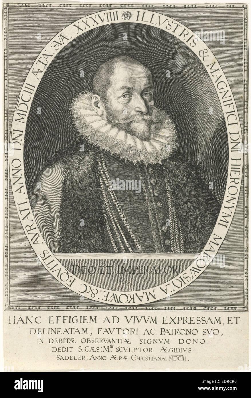 Portrait de Hieronymus Makowsky, Aegidius Sadeler, 1603 Photo Stock