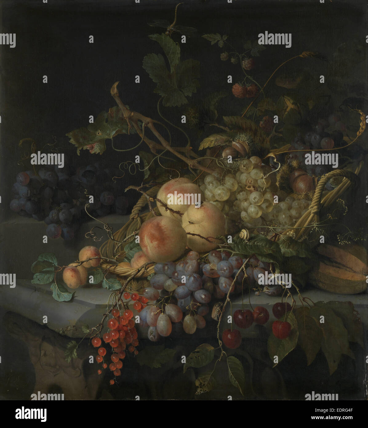 Nature morte avec fruits, Jacob van Walscapelle, 1670 - 1727 Photo Stock