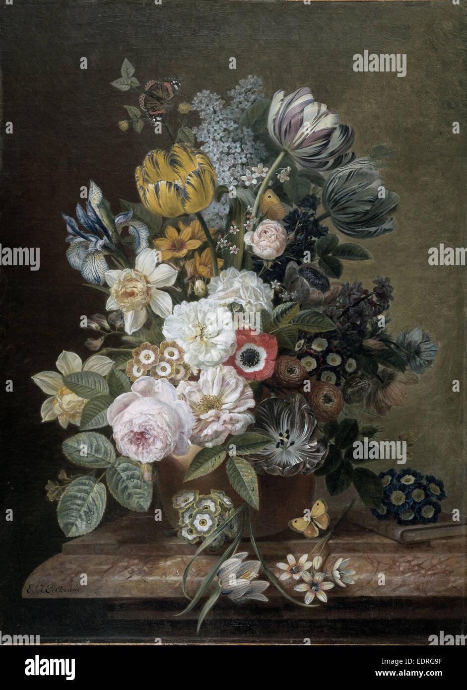 Nature morte avec fleurs, Eelke Jelles Eelkema, 1815 - 1839 Photo Stock