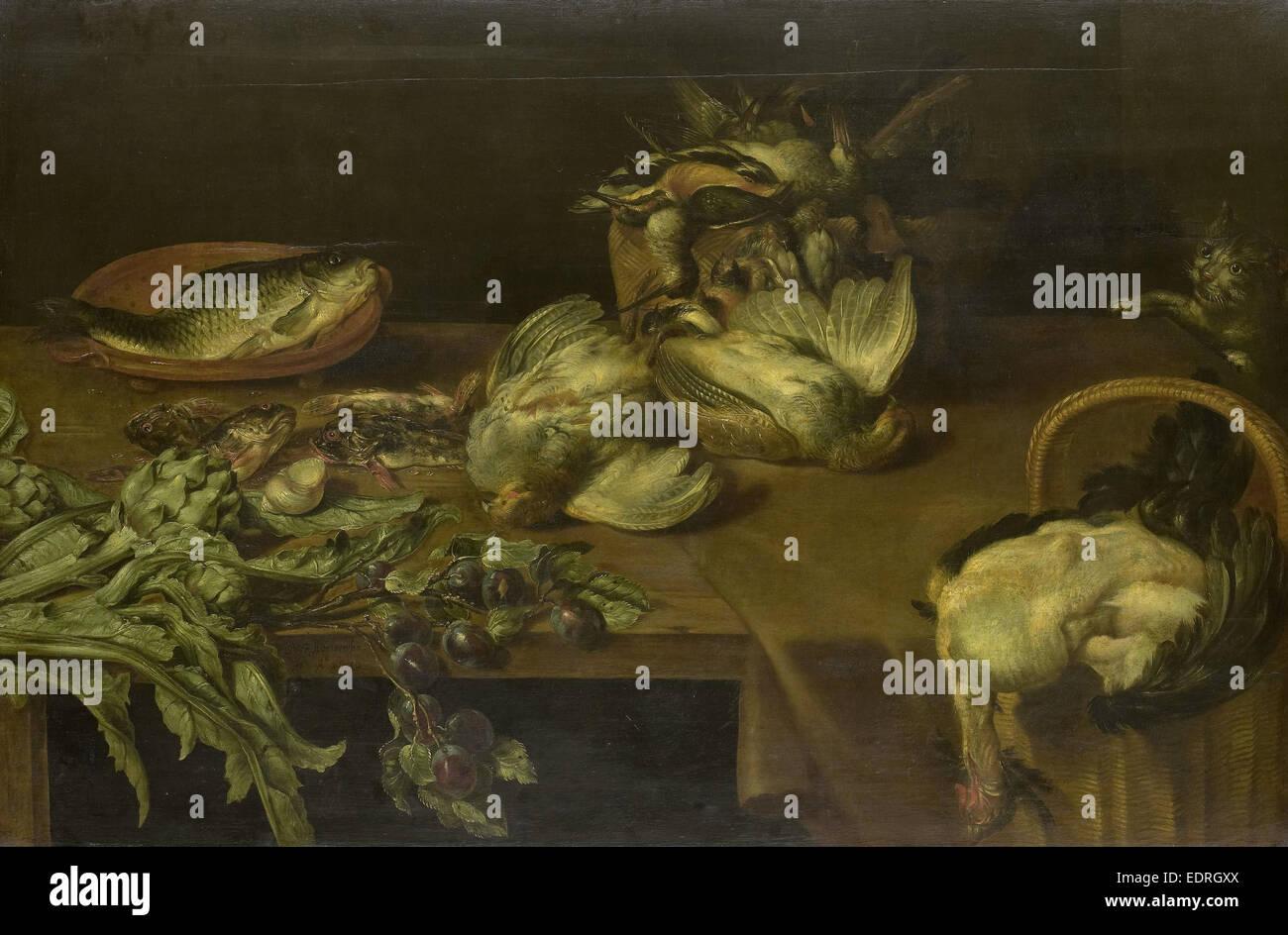 La vie toujours avec les oiseaux et les poissons, Alexander Adriaensen, 1632 Photo Stock