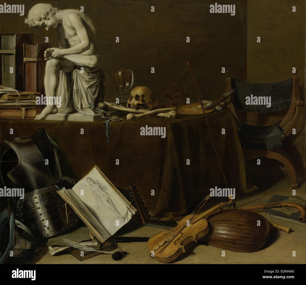 Vanitas still life avec le Spinario, Pieter Claesz., 1628 Photo Stock