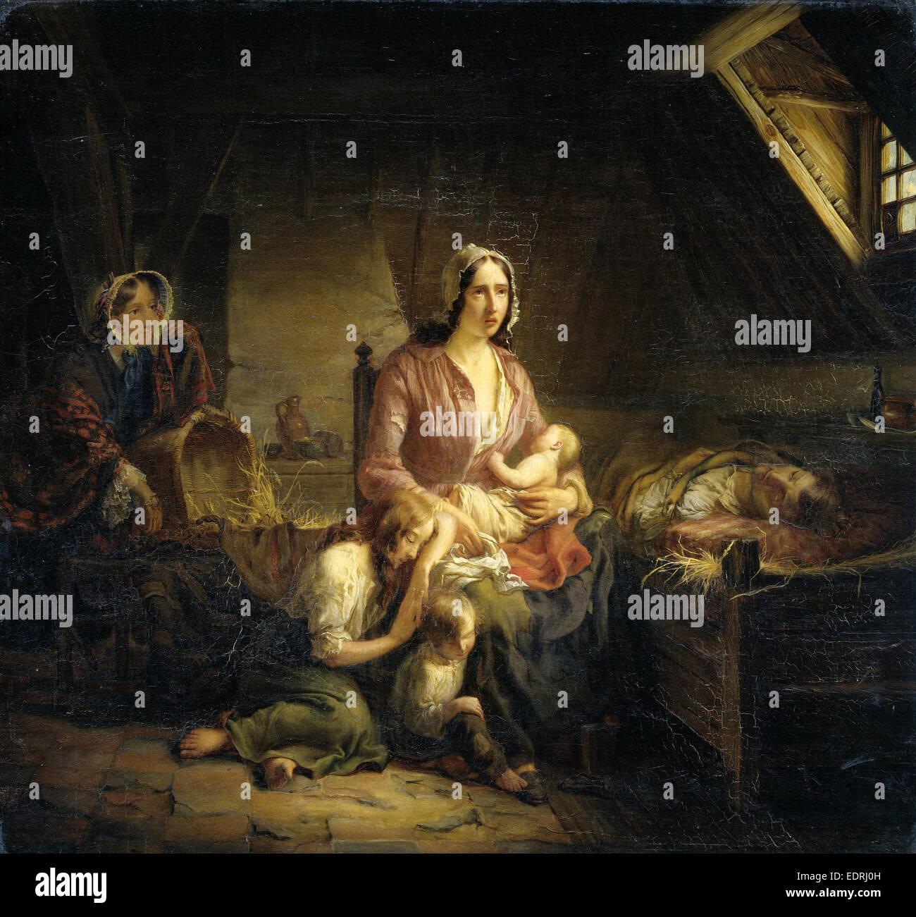 Une riche dame Visite une famille pauvre, Gerardus Terlaak, 1853 Photo Stock