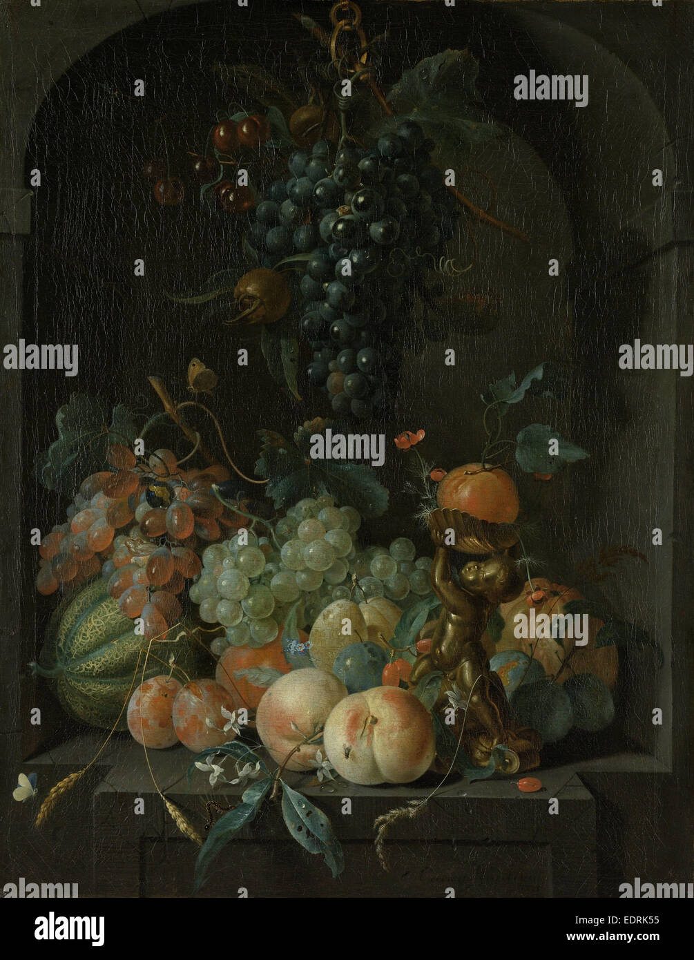 Nature morte avec fruits, Coenraet Roepel, 1721 Photo Stock