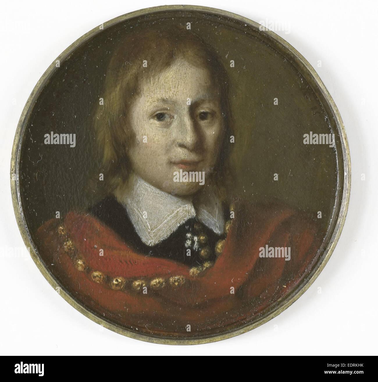 Portrait d'un garçon de quinze ans, Gerrit Lundens, 1650, miniature Portrait Photo Stock