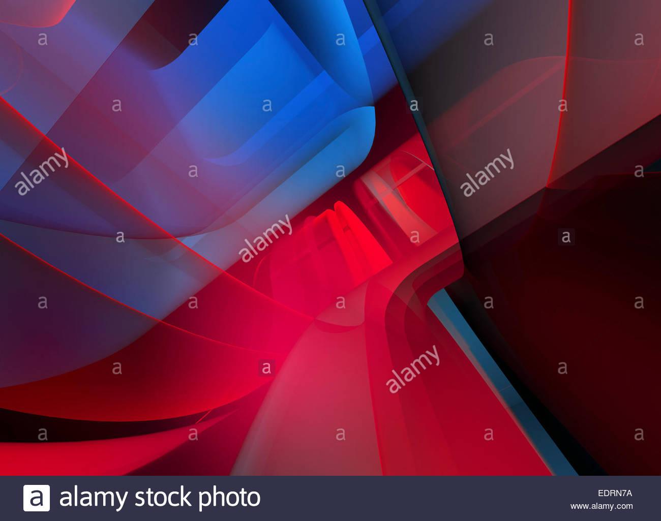 Plein cadre abstrait rouge et bleu motif horizons Photo Stock