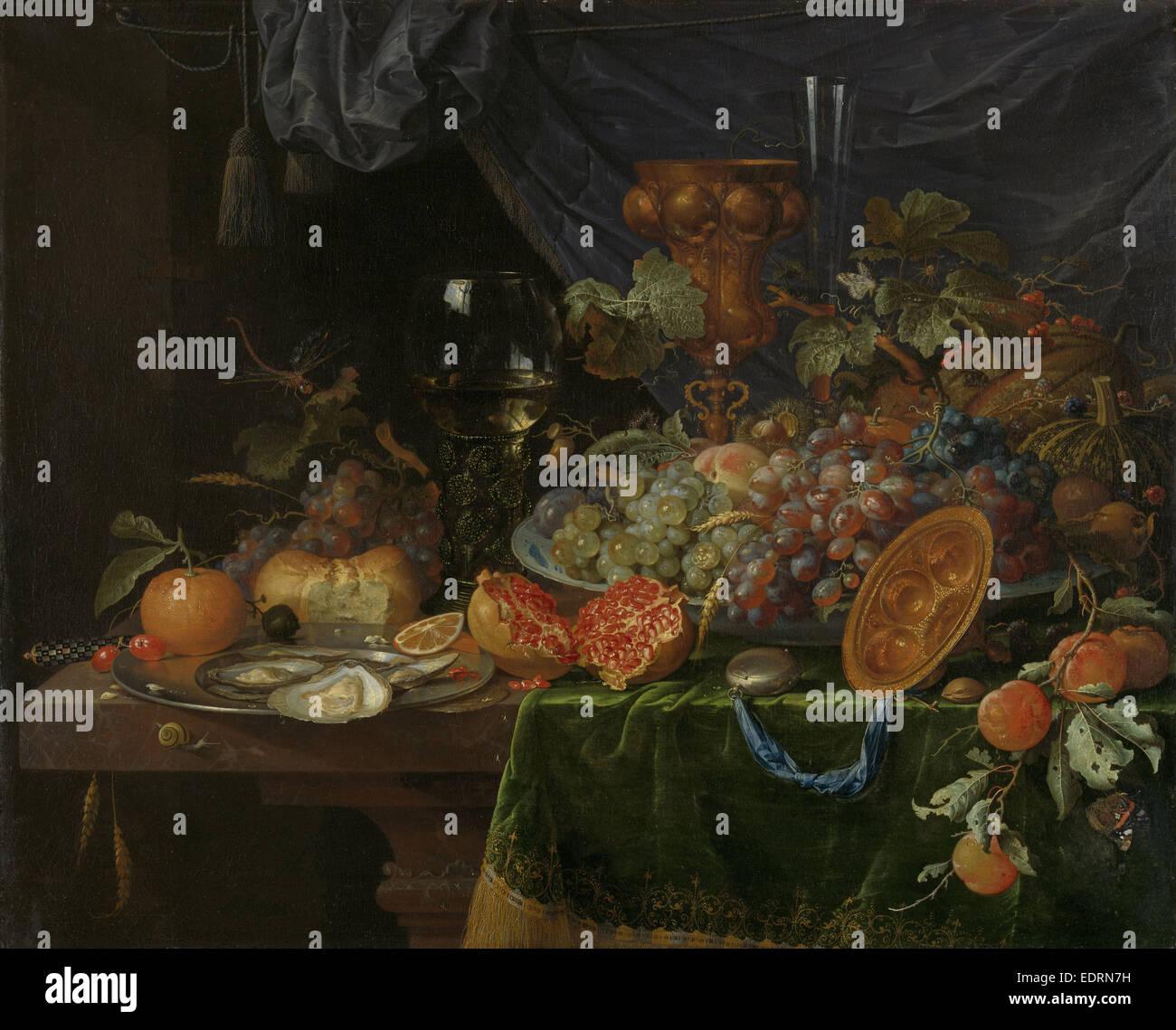 Nature morte avec fruits et les huîtres, Abraham Mignon, 1660 - 1679 Photo Stock