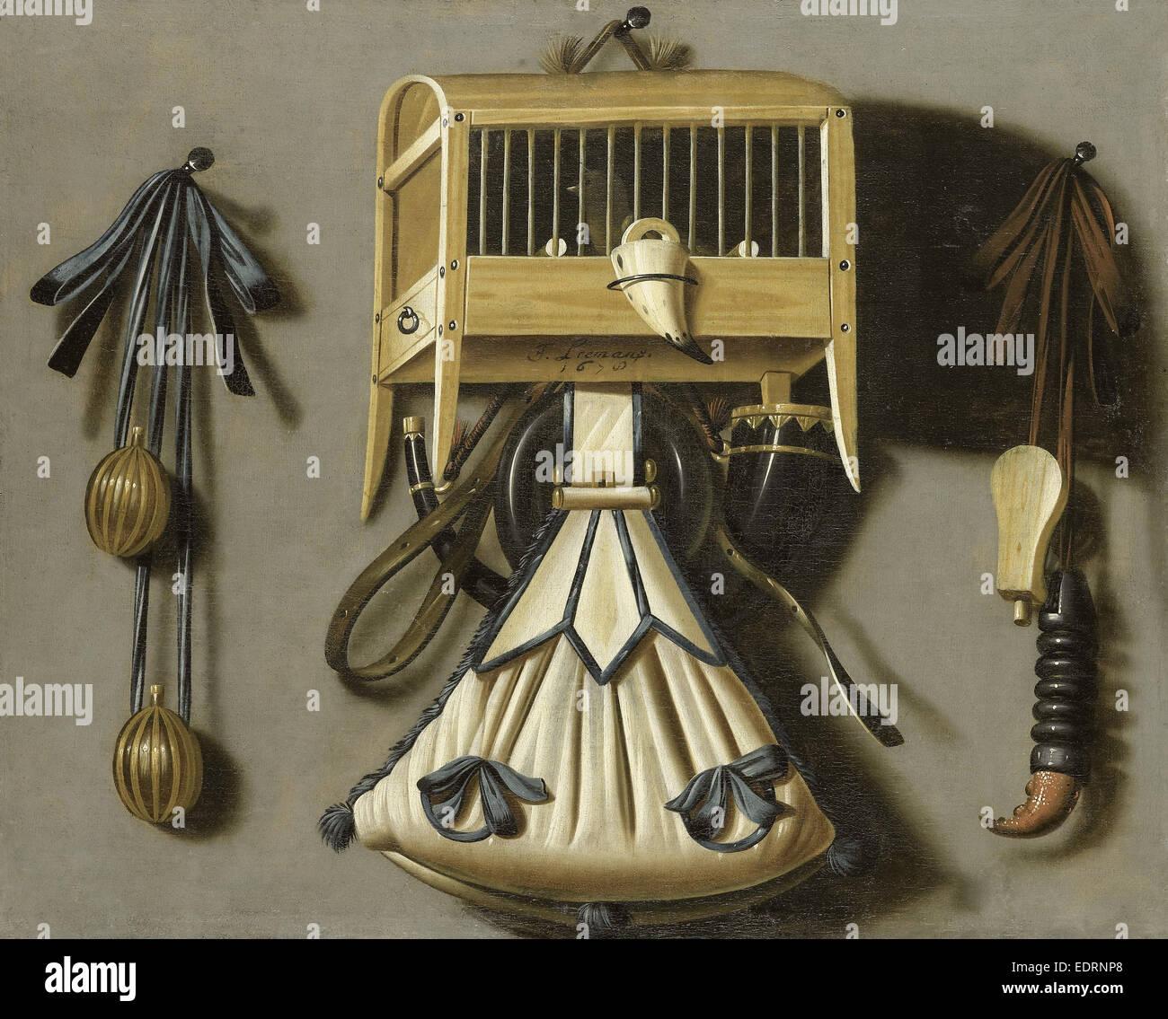 La vie toujours avec la chasse s'attaquer, Johannes Leemans, 1678 Photo Stock