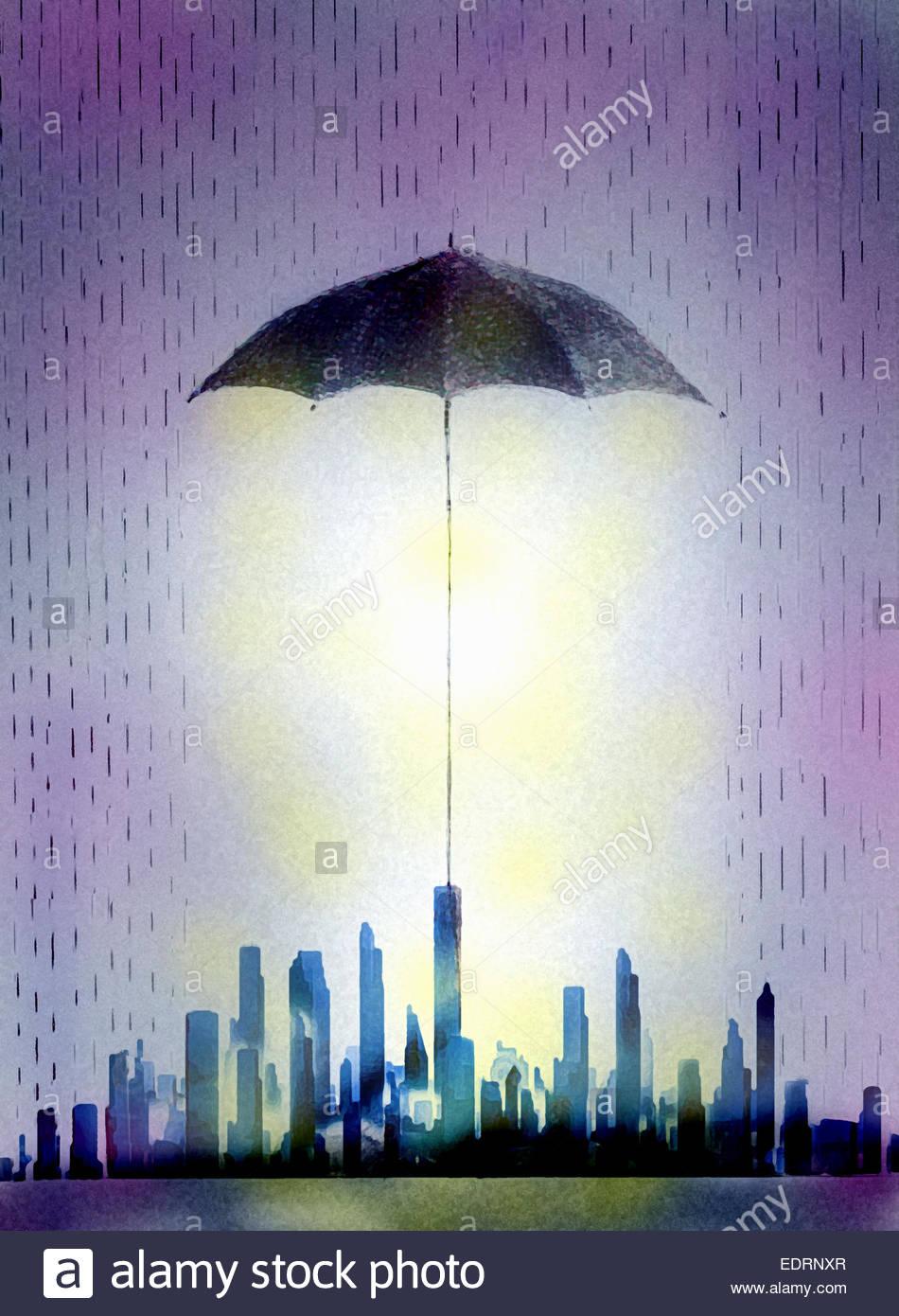 Bâtiments gratte-ciel dans le quartier des finances de la ville s'abritant sous grand parasol Photo Stock