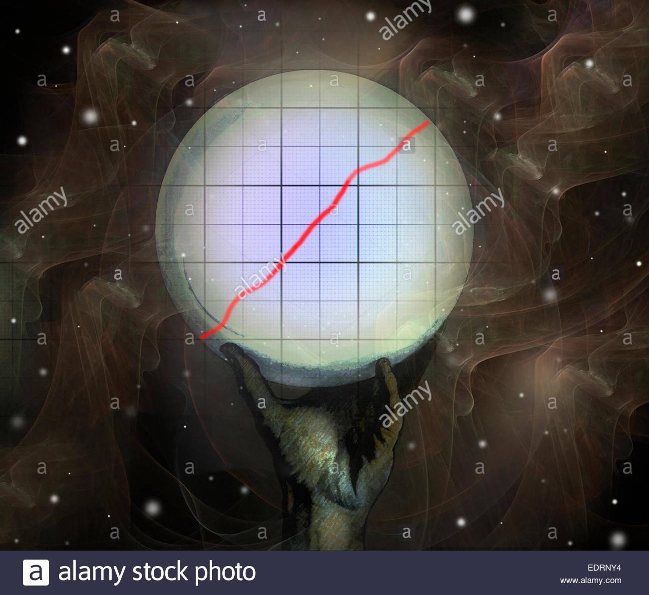 Crystal Ball prédire la croissance dans l'augmentation de graphique Photo Stock