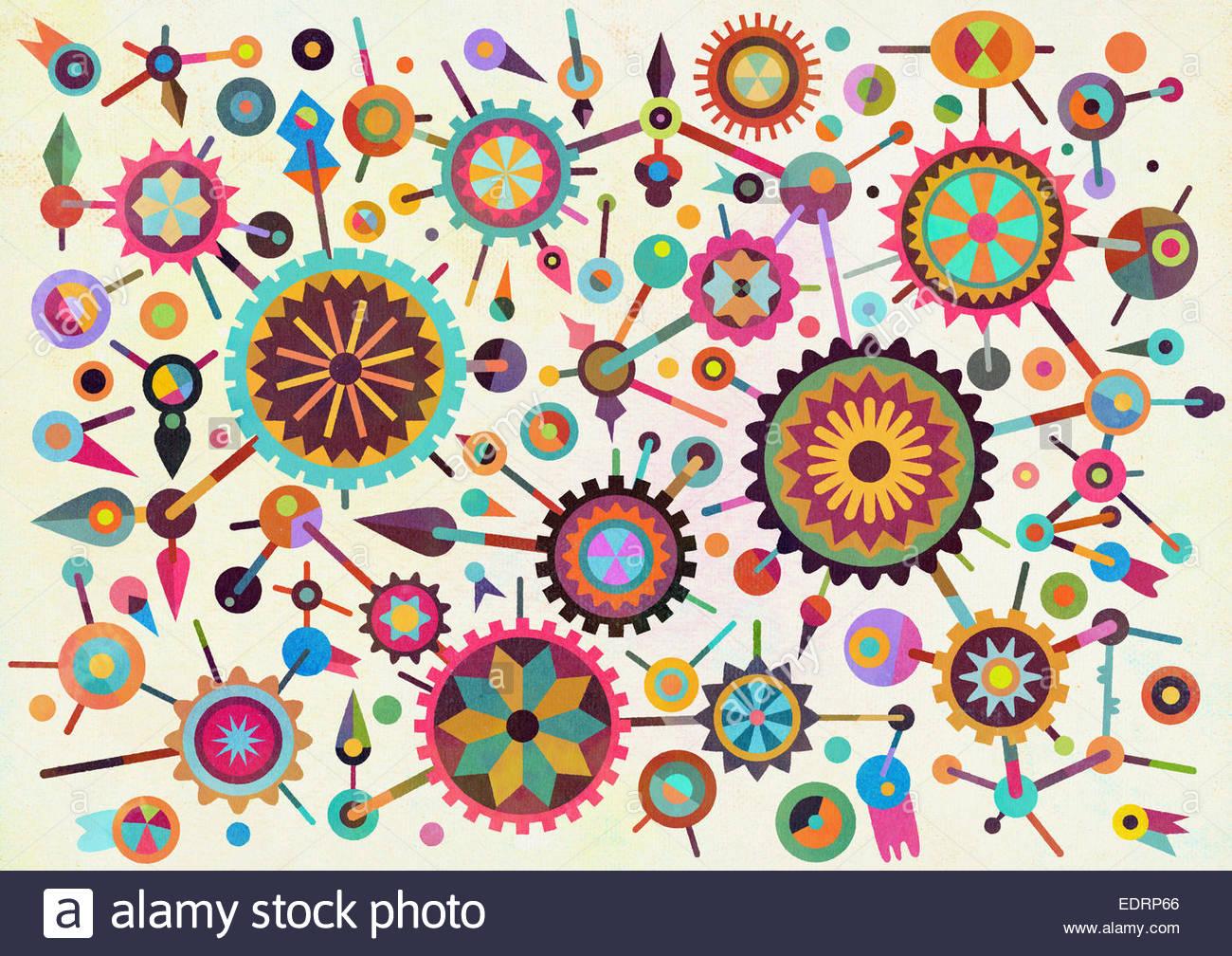 Abstract pattern de formes géométriques multicolores connecté Photo Stock