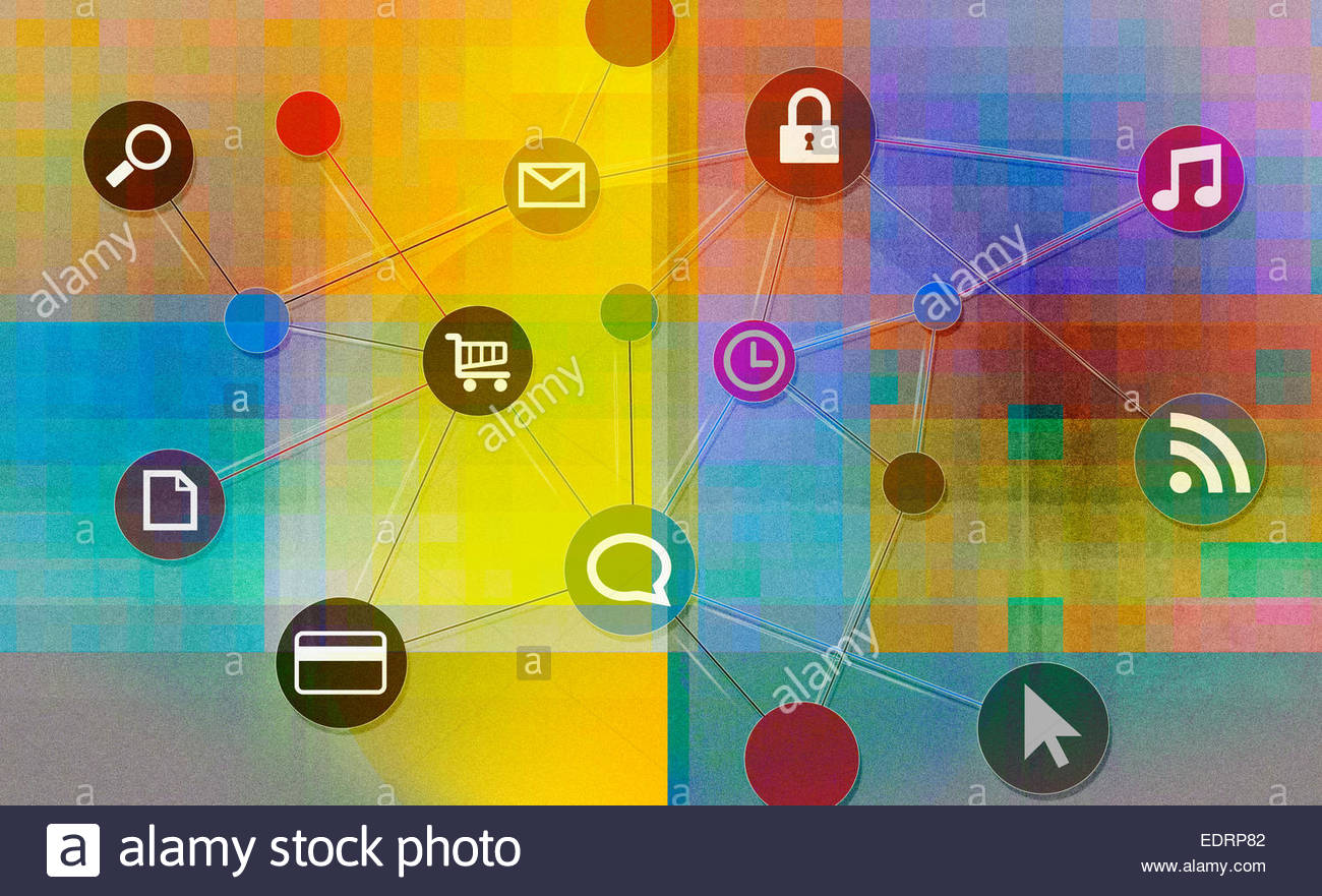 Réseau de icônes internet Photo Stock