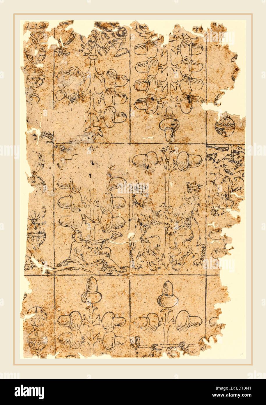 16ème siècle allemand, carte à jouer, gravure sur bois Photo Stock