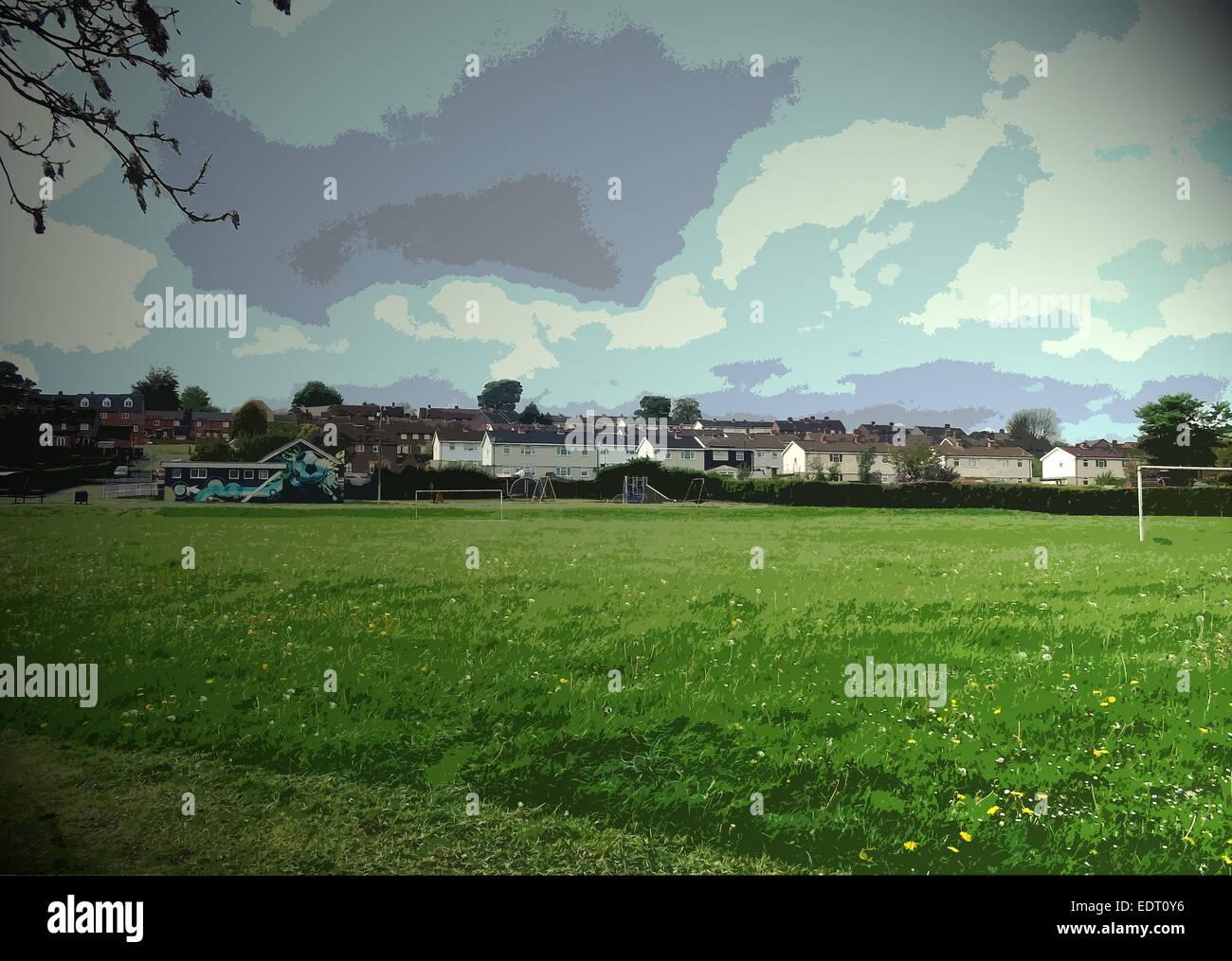 Les terrains de jeu par l'Mickley Estate, un terrain de football et un pavillon building Banque D'Images
