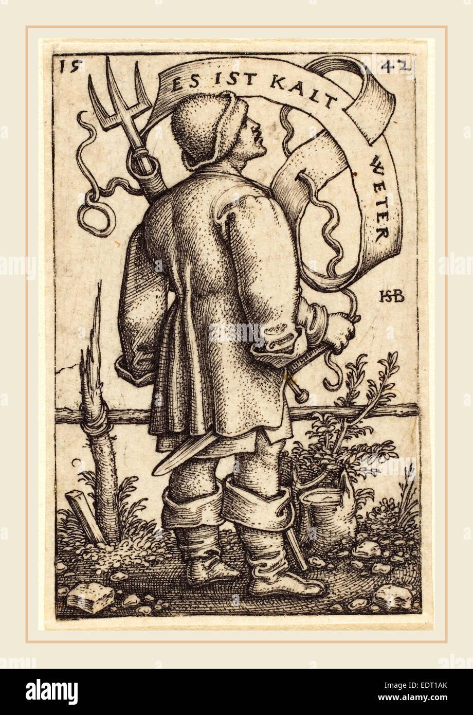 """Sebald Beham (allemand, 1500-1550), le paysan météo: """"Es ist Kalt Weter"""", 1542, gravure Photo Stock"""