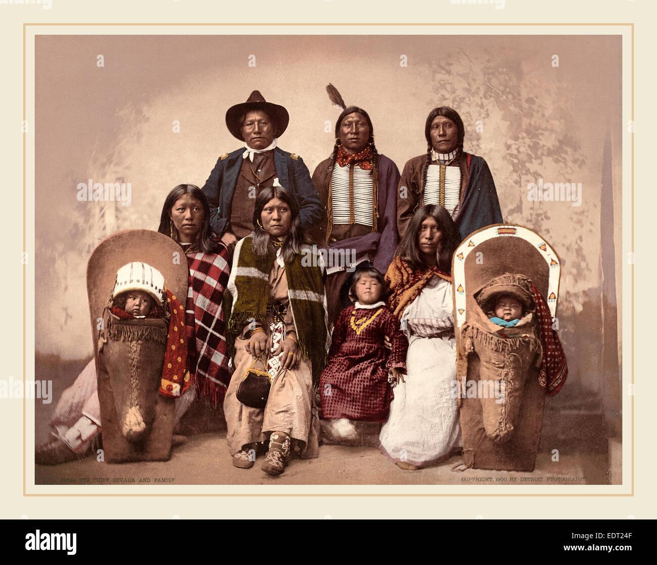 19ème siècle américain (Detroit Photographic Co.), chef du SEI Sevara et famille, 1900, photochrom Photo Stock