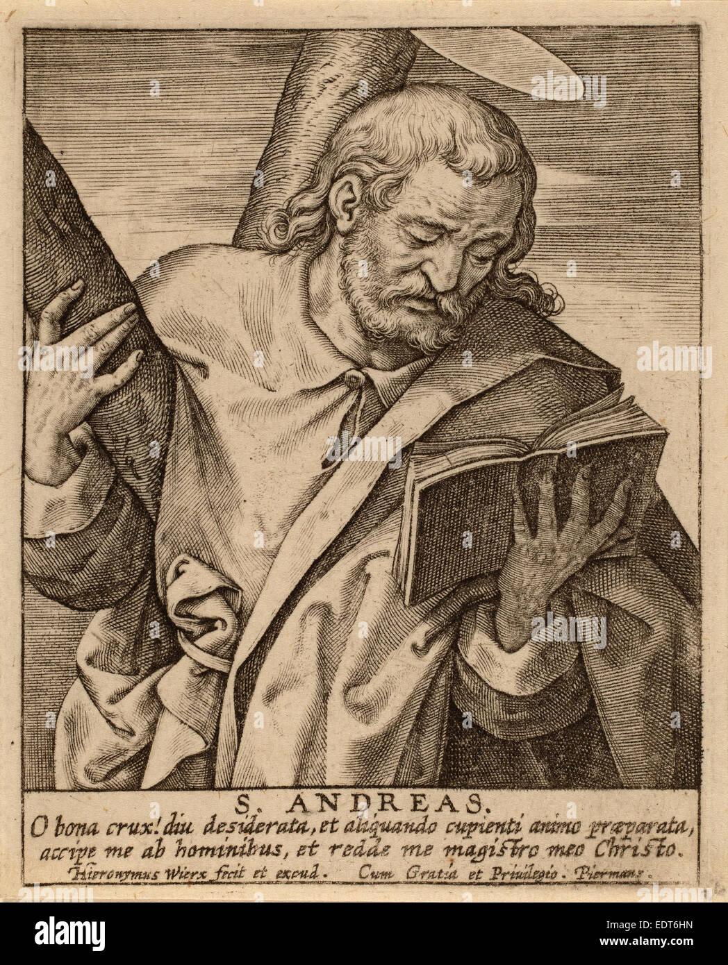 Hieronymus Wierix (flamand), ch. 1553 - 1619), S. Andreas, gravure Photo Stock