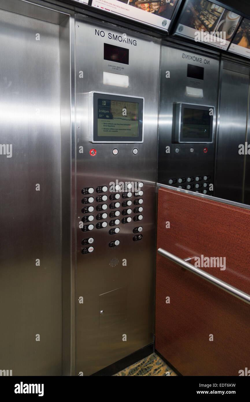 Ascenseur Intérieur, Chicago, USA Photo Stock