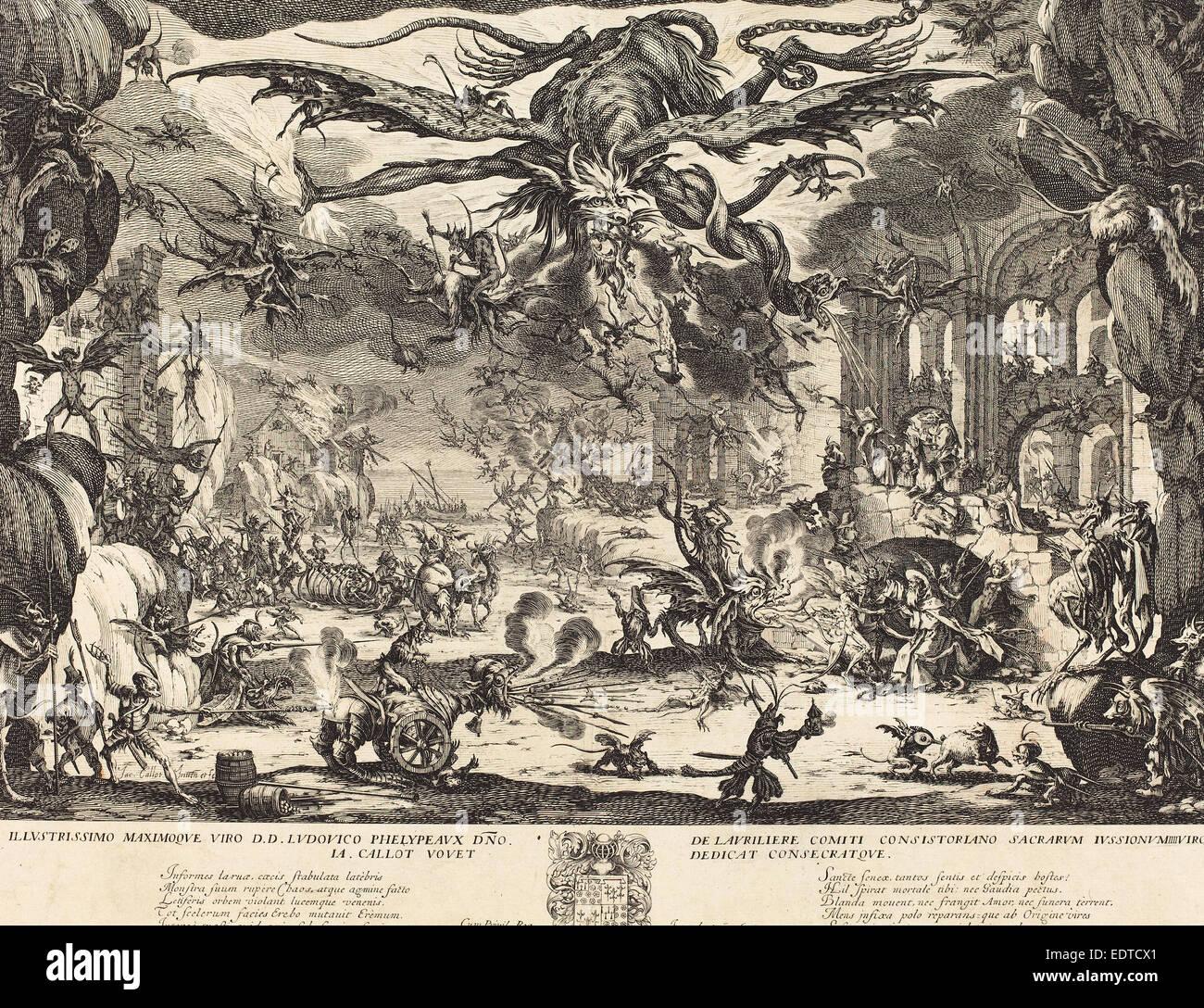 Jacques Callot (Français, 1592 - 1635), La Tentation de Saint Antoine [deuxième version], 1635, eau-forte Photo Stock