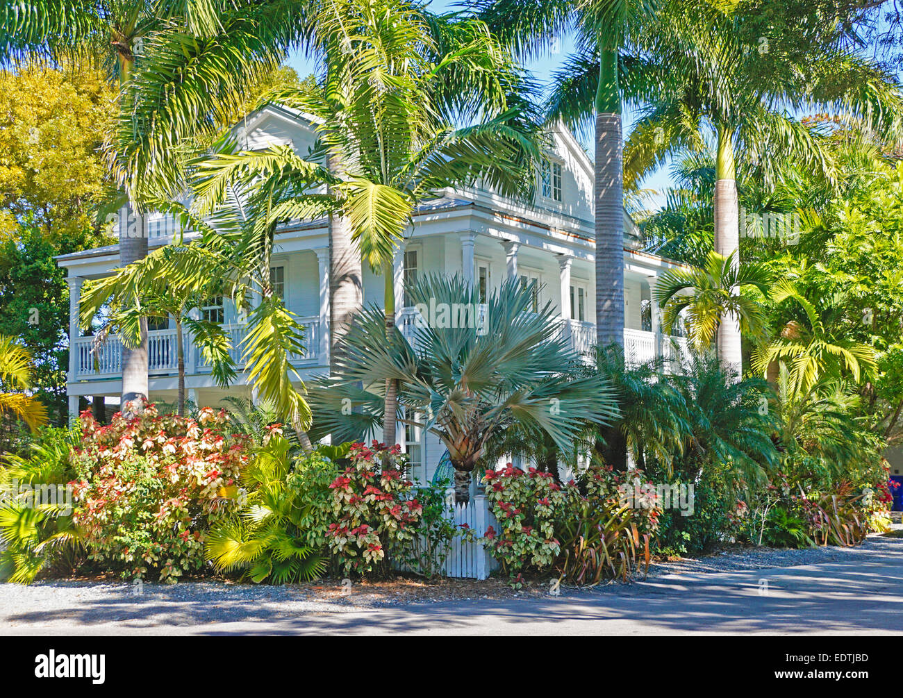 Grande maison à l'architecture de style de Key West. Photo Stock