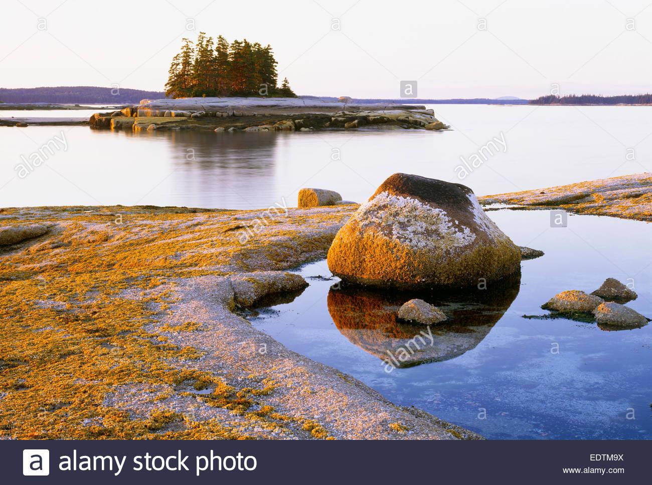 Coucher du soleil sur les bords de l'île [Devil] [Jéricho Bay] [comté de Hancock] Maine Photo Stock