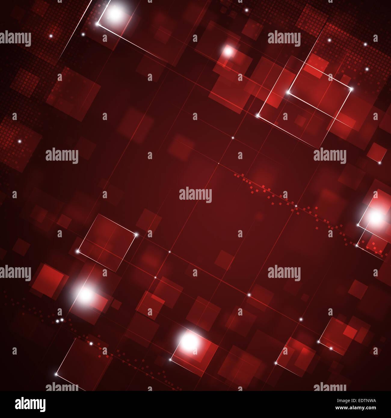 Résumé rouge point carré et la lumière arrière-plan technique Photo Stock