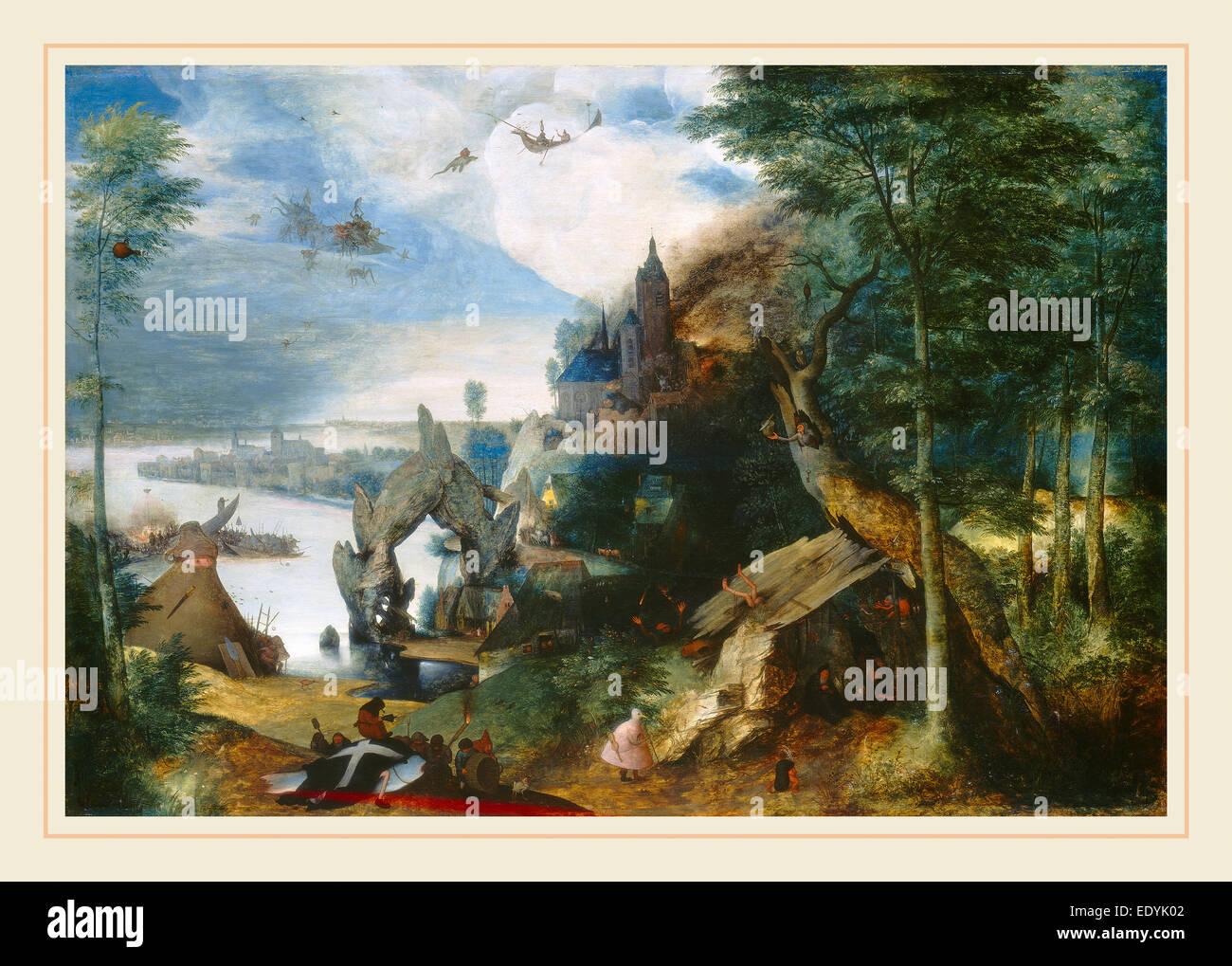Disciple de Pieter Bruegel l'Ancien, La Tentation de Saint Antoine, c. 1550-1575, huile sur panneau Photo Stock