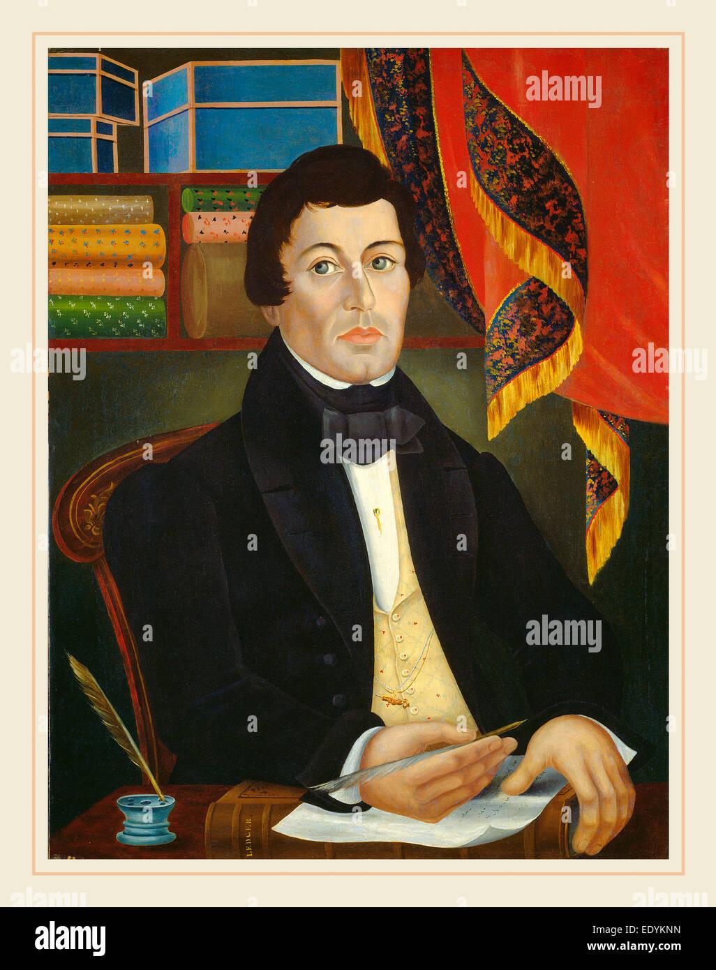 19ème siècle américain, marchand de textile, c. 1840, huile sur toile Photo Stock