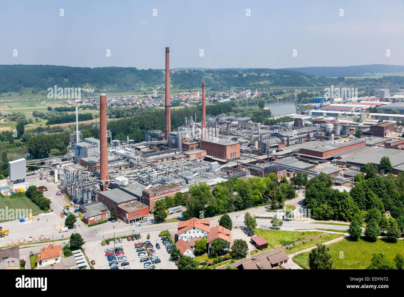 Vue aérienne, fibres de Kelheim GmbH, société de l'industrie chimique, la production de fibres Photo Stock
