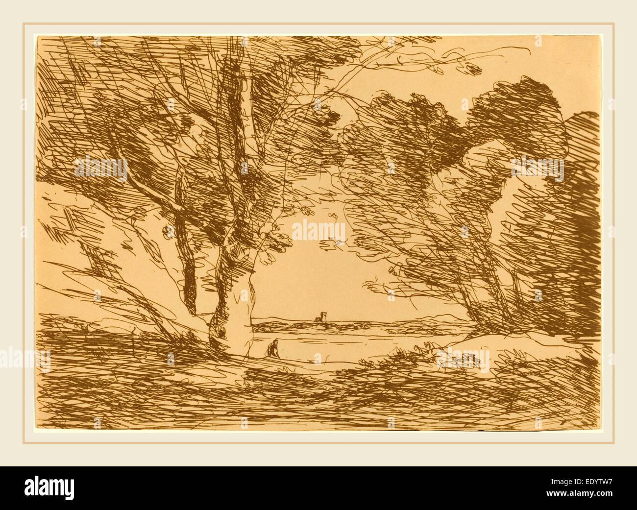 Jean-Baptiste-Camille Corot, français (1796-1875), tour à l'horizon d'un lac (d'un l'horizon Photo Stock