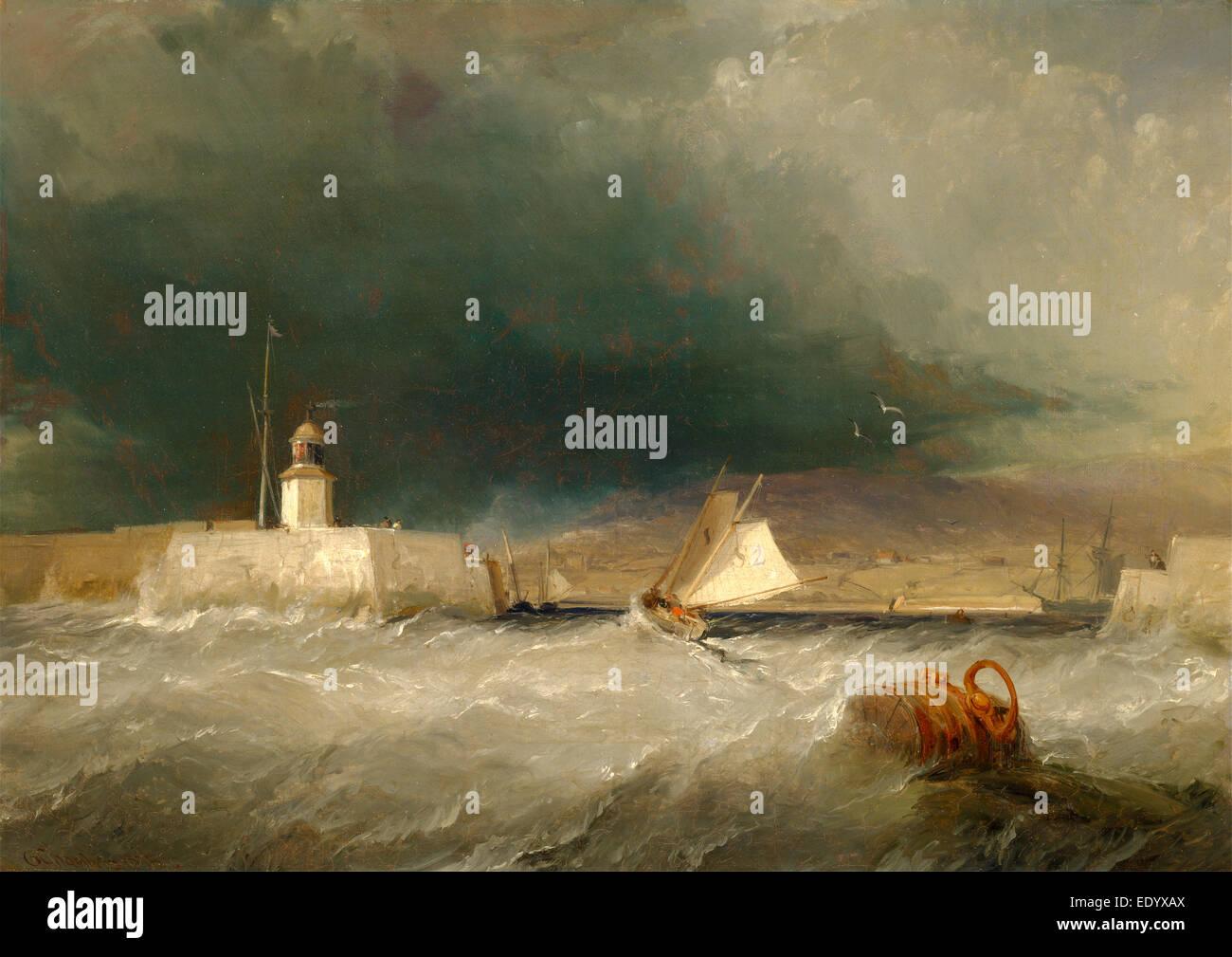 """Port sur un jour de tempête, signée et datée en bas à gauche: """"G. Chambers 1835', Photo Stock"""