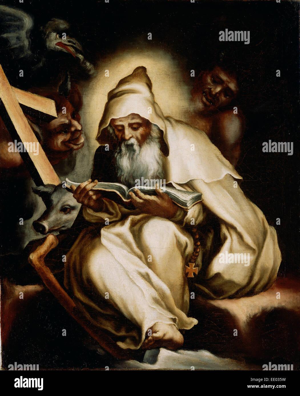 La Tentation de Saint Antoine; Lelio Orsi, Italien, 1511 - 1587; années 1570; Huile sur toile Photo Stock